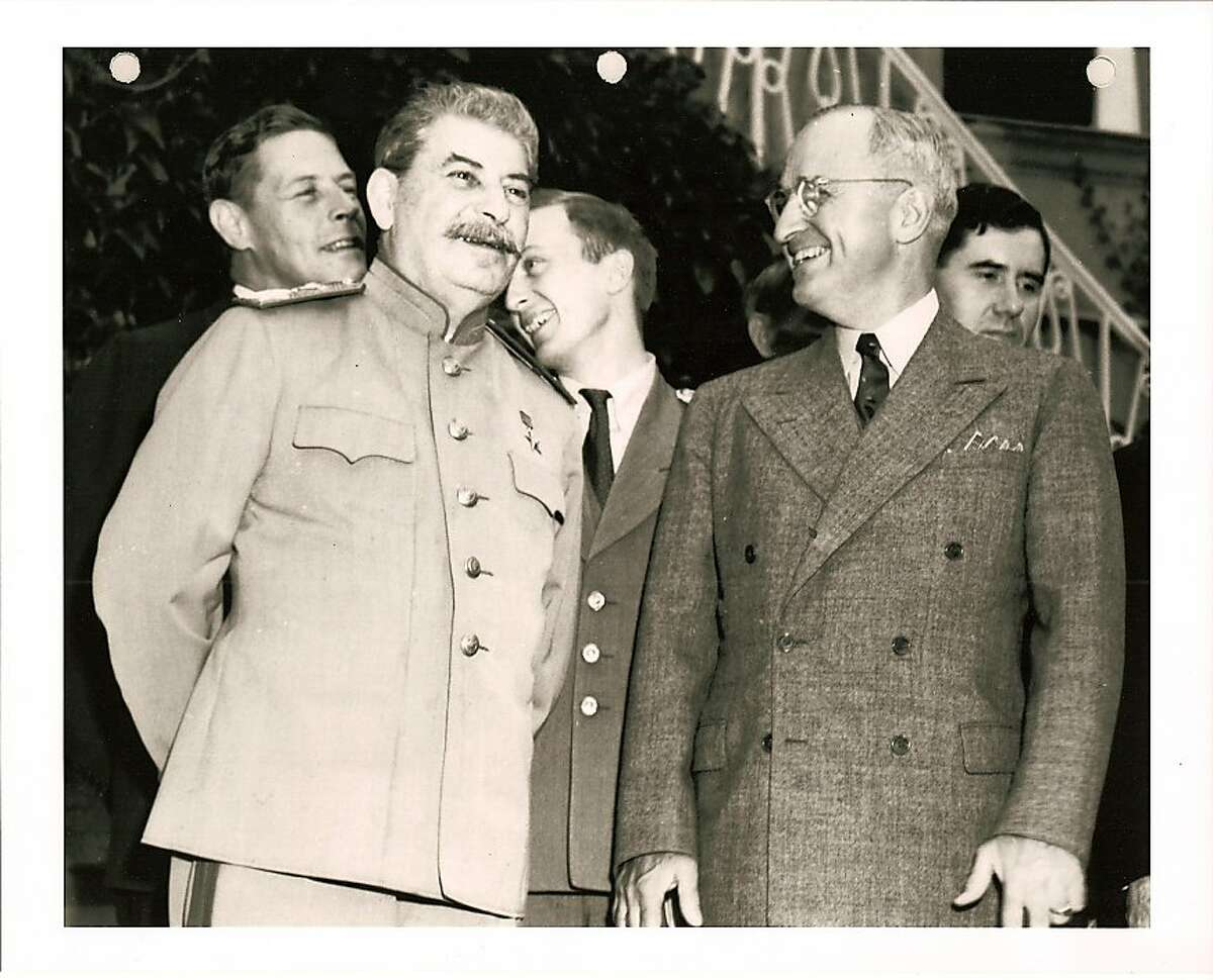 A still from the documentary series OLIVER STONE'S UNTOLD HISTORY OF THE UNITED STATES. Stalin with Harry S Truman