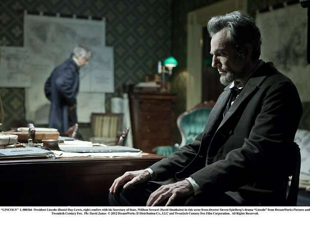 "President Lincoln (Daniel Day-Lewis, right) confers with his Secretary of State, William Seward (David Strathairn) in this scene from director Steven Spielberg's drama ""Lincoln.""  Photo: David James, Touchstone Pictures"