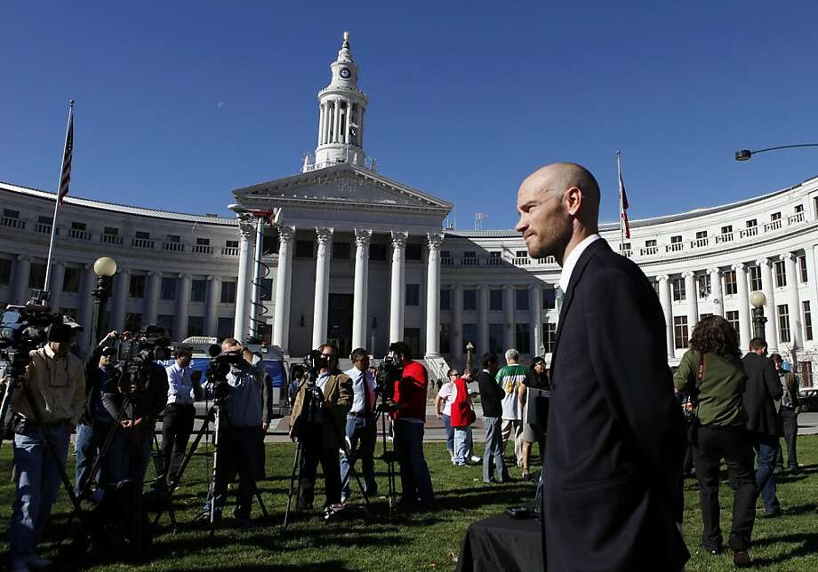 Brian Vicente, co-director of the Yes on 64 campaign, waits to start a news conference about the legalization of marijuana at Civic Center Park in Denver. Photo: Ed Andrieski, Associated Press