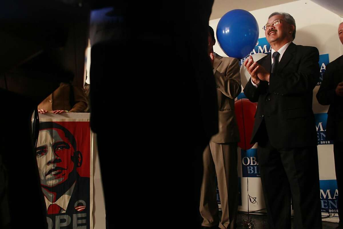 After President Barack Obama won his second term, San Francisco Mayor Ed Lee address a crowd of Obama supporters at an election party for the Democratic Party on Tuesday Nov. 6, 2012 in San Francisco, Calif.