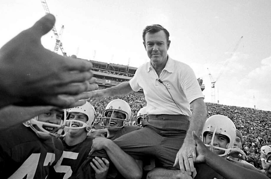 Darrell Royal's 1970 team routed Arkansas (above). His 1963 and 1969 teams were national champions. Photo: Anonymous, Associated Press