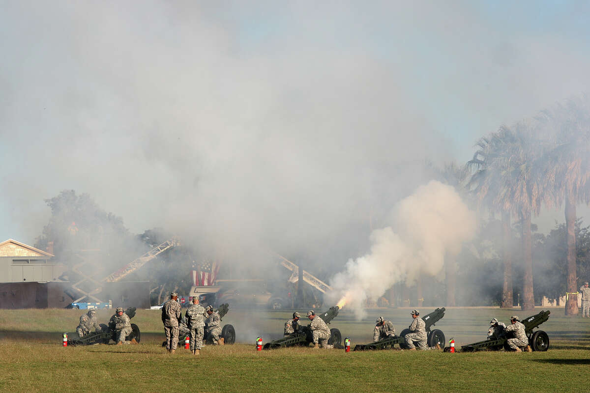 Soldiers fire a 21-gun salute during the U.S. Army North and Fort Sam Houston