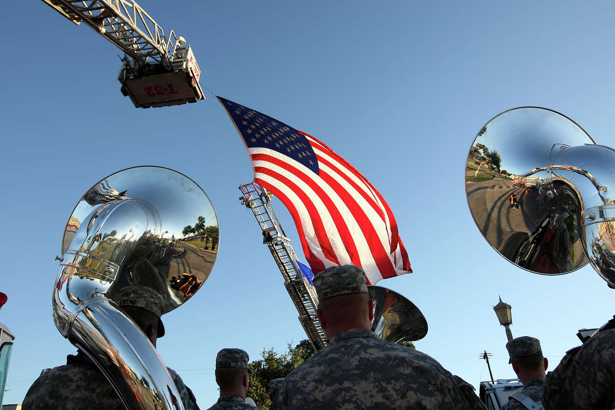 Fort Sam Houston's 323rd Army Band plays at the 50th Anniversary Welcome Home Vietnam Veterans Ceremony on Wednesday.