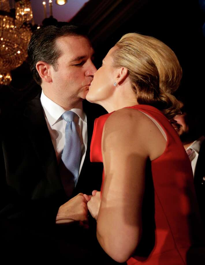 Republican Ted Cruz kisses his wife Heidi during a victory speech Tuesday, Nov. 6, 2012, in Houston. Cruz defeated Democrat Paul Sadler to replace retiring U.S. Sen. Kay Bailey Hutchison. (AP Photo/David J. Phillip) Photo: David J. Phillip, Associated Press / AP