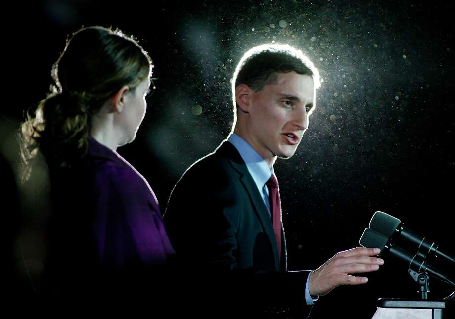 With his wife Ilana at his side, U.S. Senate candidate Josh Mandel gives his concession speech on election night in Columbus, Ohio.  November 6, 2012. He was defeated by Democratic Sen. Sherrod Brown. (AP Photo/Mike Munden) Photo: Mike Munden, Associated Press / FR57028 AP