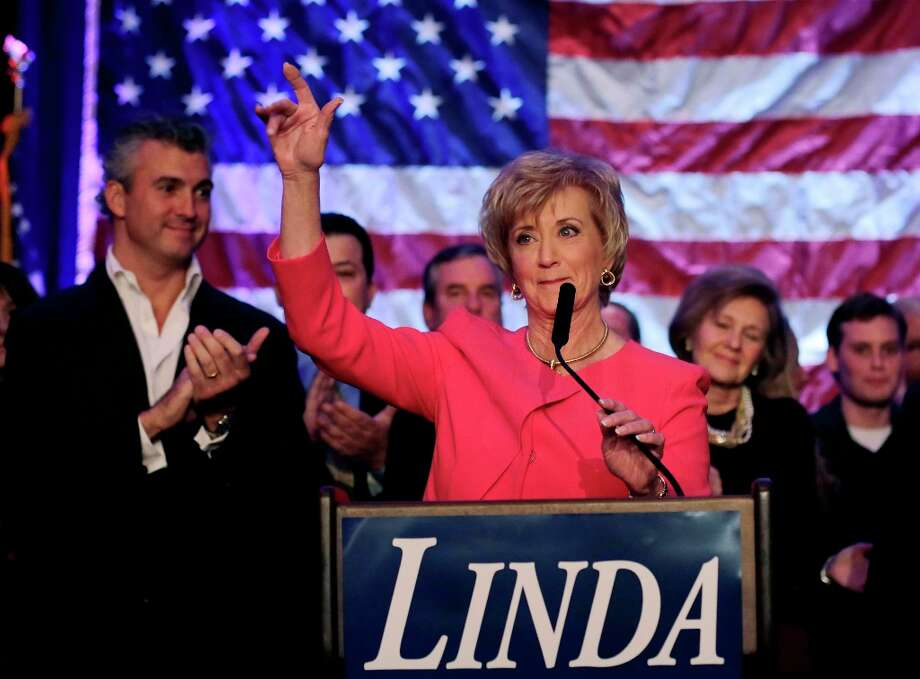 Republican candidate for U.S. Senate Linda McMahon waves as she thanks supporters in Stamford, Conn., Tuesday, Nov. 6, 2012. McMahon conceded the race to Democratic opponent Chris Murphy for the Senate seat now held by Joe Lieberman, an independent who's retiring. (AP Photo/Charles Krupa) Photo: Charles Krupa, Associated Press / AP