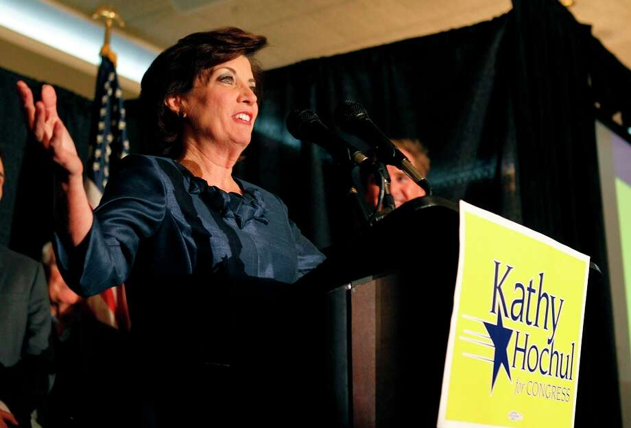 Kathy Hochul speaks at her  headquarters, addressing supporters on Wednesday, Nov. 7, 2012 in Hamburg, N.Y., as her race in the 27th congressional district against Chris Collins is too close to call. (AP Photo/The Buffalo News, Harry Scull Jr.) Photo: Harry Scull Jr., Associated Press / The Buffao News