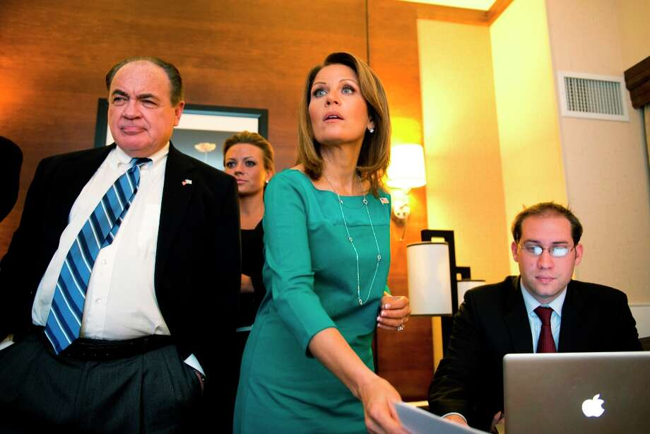 Rep. Michele Bachmann watches election results at the Republican Party of Minnesota Election Night Party, Tuesday, Nov. 6, 2012, at the Hilton Minneapolis Bloomington in Bloomington, Minn. (AP Photo/The Star Tribune, Glen Stubbe) Photo: Glen Stubbe, Associated Press / The Star Tribune