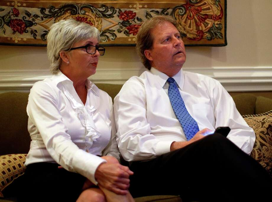 Democratic candidate for U.S. Senate Paul Sadler, right, watches election results with his wife, Sherri, in their suite, Tuesday, Nov. 6, 2012, in Austin, Texas. Sadler is facing Republican Ted Cruz. (AP Photo/Eric Gay) Photo: Eric Gay, Associated Press / AP