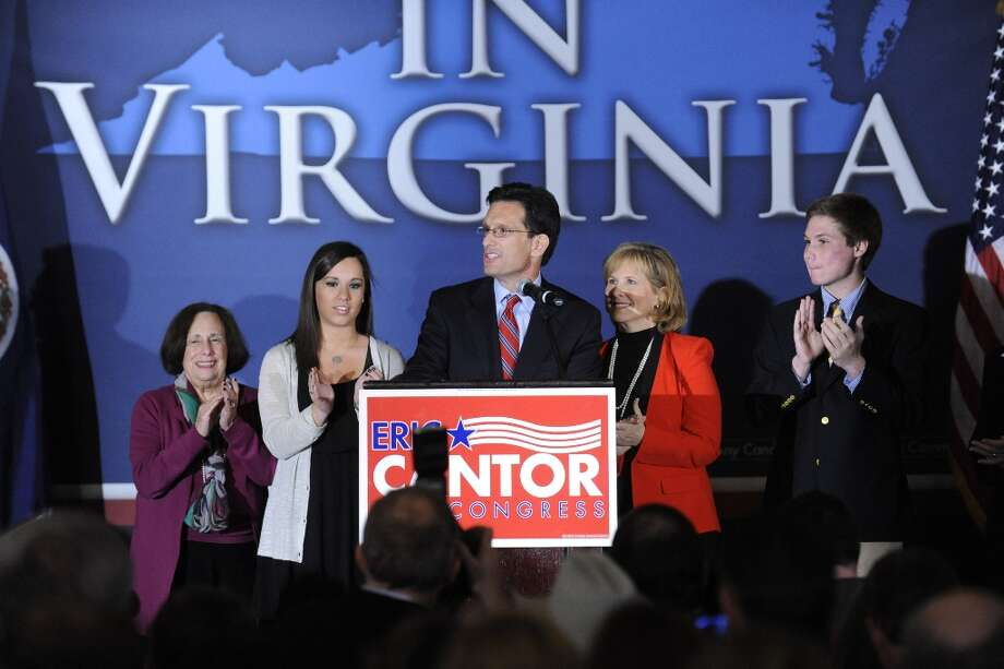 Rep Eric Cantor, R-Va., speaks to the crowd at the Republican Party of Virginia post election event at the Omni Hotel in Richmond, Va., on Tuesday Nov. 6, 2012. Cantor was reelected to his seventh term in the United States House of Representatives.(AP Photo/Clement Britt) Photo: Clement Britt, Associated Press / FRE3440 AP