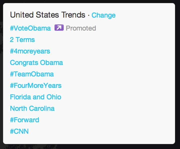 "Within U.S., ""2 terms,"" ""#4moreyears,"" and ""Congrats Obama"" became top"