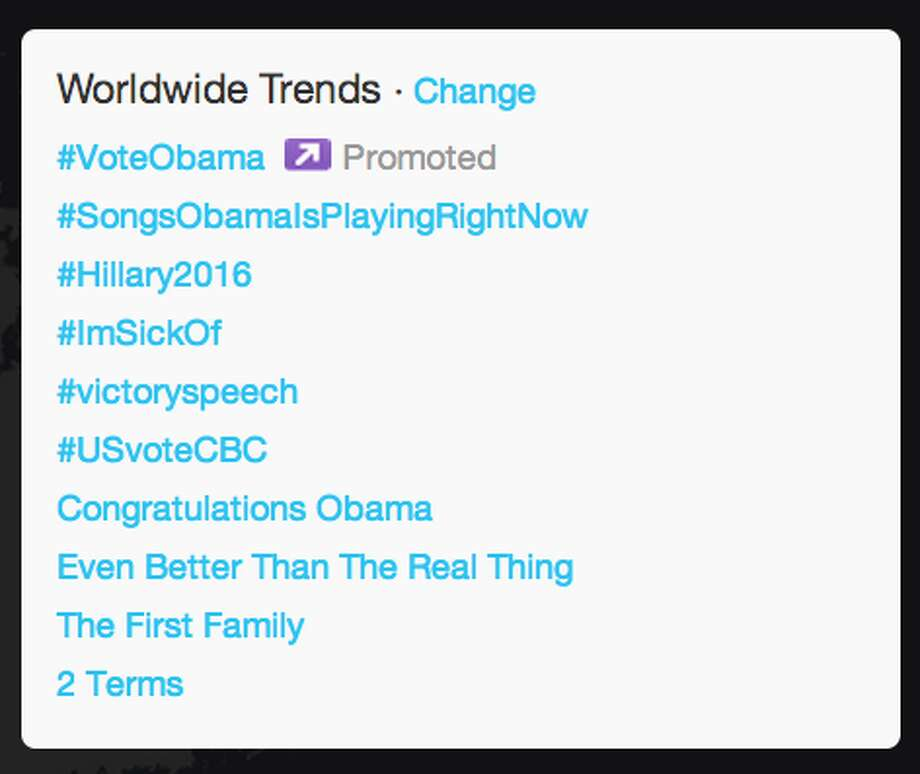 "Ten minutes after President Obama had launched into his speech, ""Congratulations Obama"" and ""2 terms"" was trending Worldwide.  (Jana Kasperkevic / Houston Chronicle)"