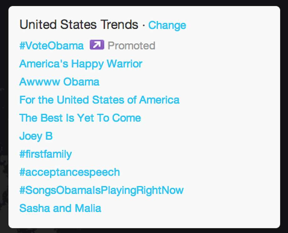 """As President Obama began his speech, pieces of it made it onto the trends list. """"The Best is Yet To Come"""" was one of the first speech related trends, followed by """"Joey B"""" that appeared after President gave a shout out to his Vice President Joe Biden.  (Jana Kasperkevic / Houston Chronicle)"""