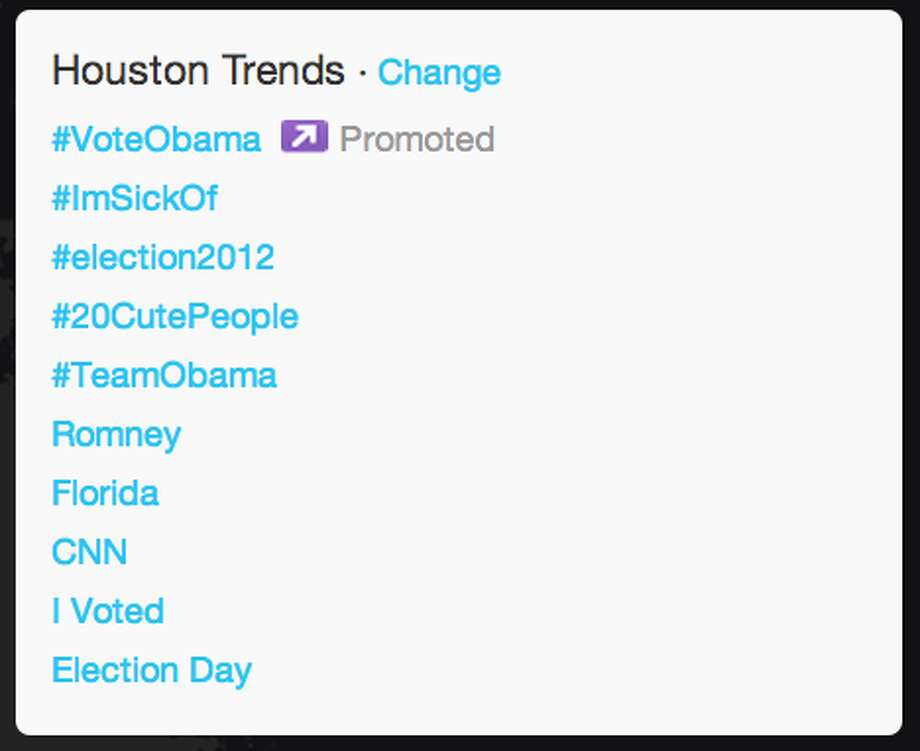 "In Houston, Twitter users began to tweet when CNN called it for President Obama as evident by ""CNN"" trending topic for the area.  (Jana Kasperkevic / Houston Chronicle)"