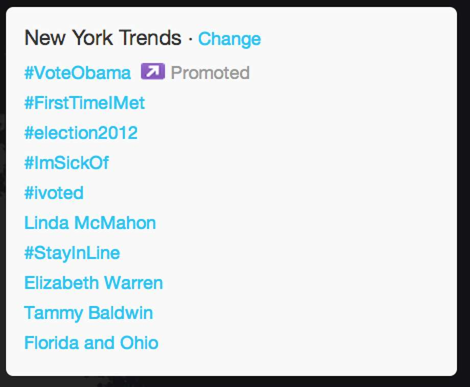 As the elections were being called for President Obama, three female candidates - Linda McMahon, Elizabeth Warren, and Tammy Baldwin - were trending in New York. Also, #StayinLine - an Obama inspired hash tag - was on the trends list.  (Jana Kasperkevic / Houston Chronicle)