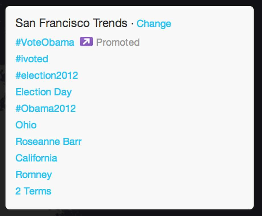 "In San Francisco, Roseanne Barr trended throughout the night. As the elections were being called for President Obama, ""Ohio"" and ""2 Terms"" made it onto the trends list in San Francisco as well.  (Jana Kasperkevic / Houston Chronicle)"