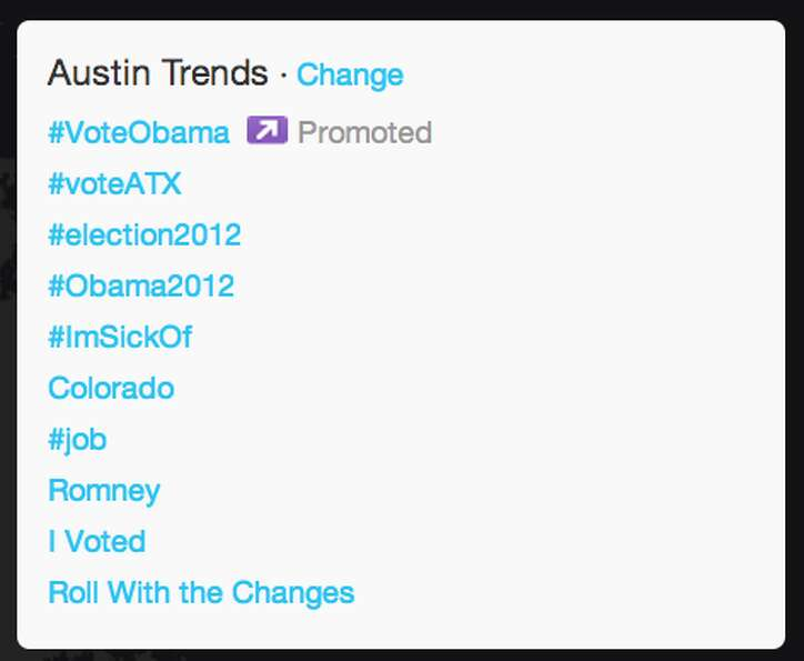 Trends in Austin as President Obama began his acceptance speech.  (Jana Kasperkevic / Houston Chroni