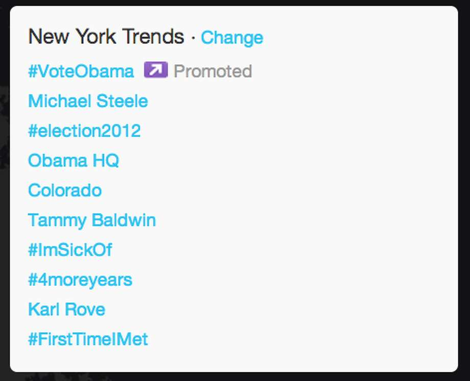 Trends in New York as President Obama began his acceptance speech.  (Jana Kasperkevic / Houston Chronicle)