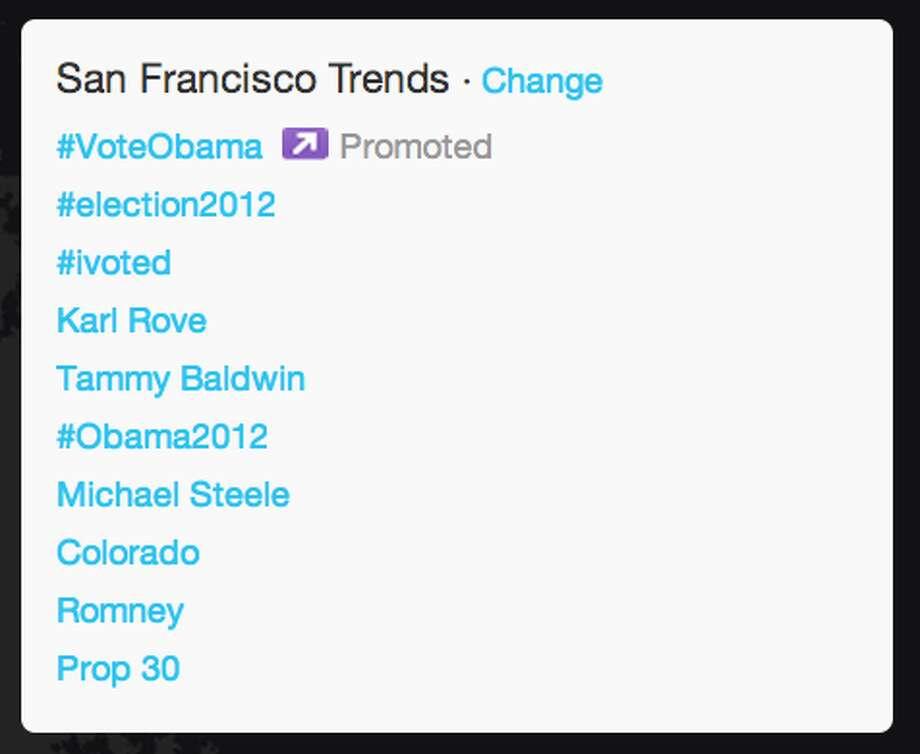 Trends in San Francisco as President Obama began his acceptance speech.  (Jana Kasperkevic / Houston Chronicle)