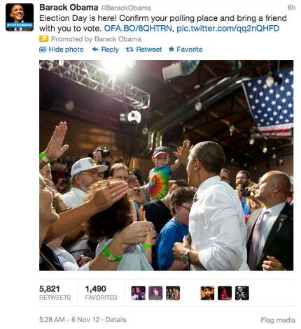 Obama's campaign tweeted out a similar link about five hours prior to Romney along with a photo of President Barack Obama at a rally. The campaign also paid to promote their tweet.  (Jana Kasperkevic / Houston Chronicle)