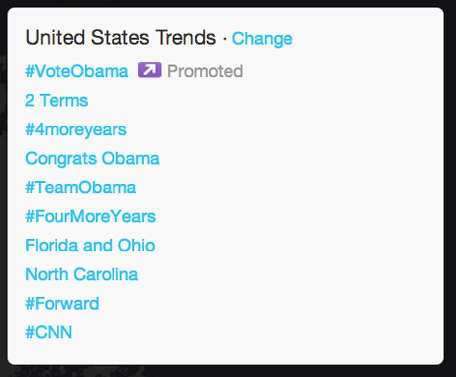 "Within U.S., ""2 terms,"" ""#4moreyears,"" and ""Congrats Obama"" became top trending topics within seconds of the election being called.   (Jana Kasperkevic / Houston Chronicle)"