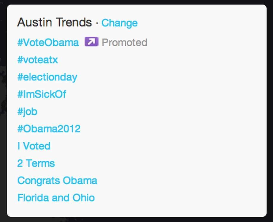 """Congrats Obama"" quickly made it onto Austin's trends list.  (Jana Kasperkevic / Houston Chronicle)"