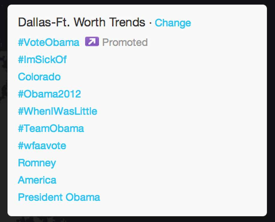 Trends in Dallas as President Obama began his acceptance speech.  (Jana Kasperkevic / Houston Chronicle)