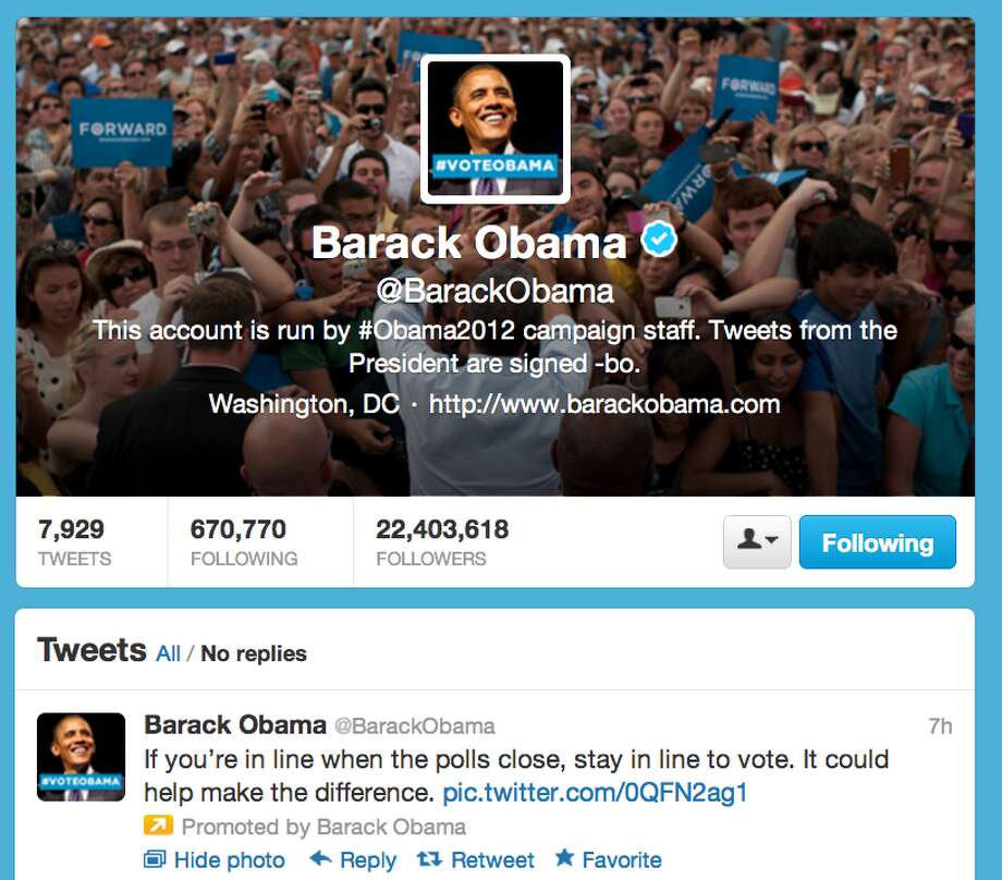 """Obama for America also utilized promoted tweets later on in the evening when the lines at the polls were long and the voters were tired. """"[S]tay in the line to vote. it could help make the difference,"""" urged the tweet send out by @BarackObama.  (Jana Kasperkevic / Houston Chronicle)"""