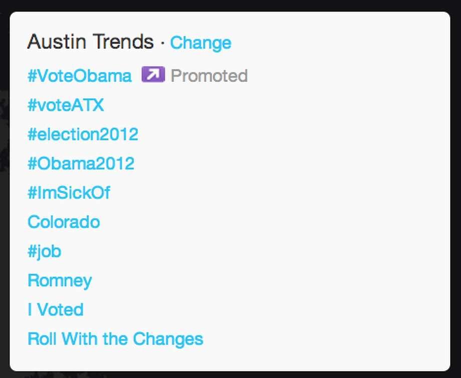Trends in Austin as President Obama began his acceptance speech.  (Jana Kasperkevic / Houston Chronicle)