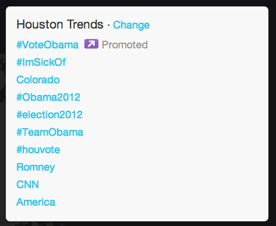 Trends in Houston as President Obama began his acceptance speech.  (Jana Kasperkevic / Houston Chronicle)