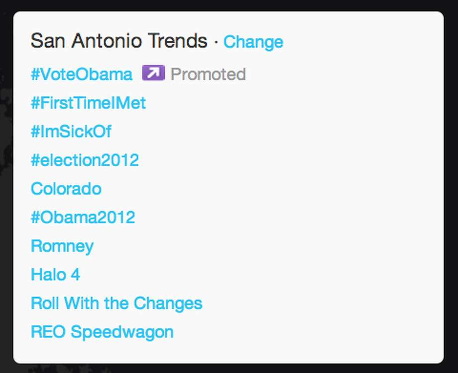 Trends in San Antonio as President Obama began his acceptance speech.  (Jana Kasperkevic / Houston Chronicle)