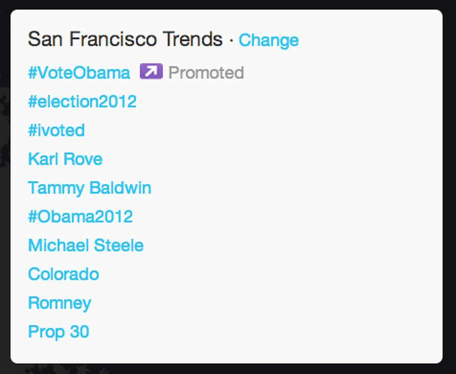 Trends in San Francisco as President Obama began his acceptance speech.  (Jana Kasperkevic / Houston Chronicle)