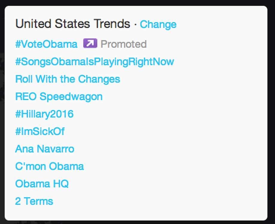 Trends in United States as President Obama began his acceptance speech.  (Jana Kasperkevic / Houston Chronicle)