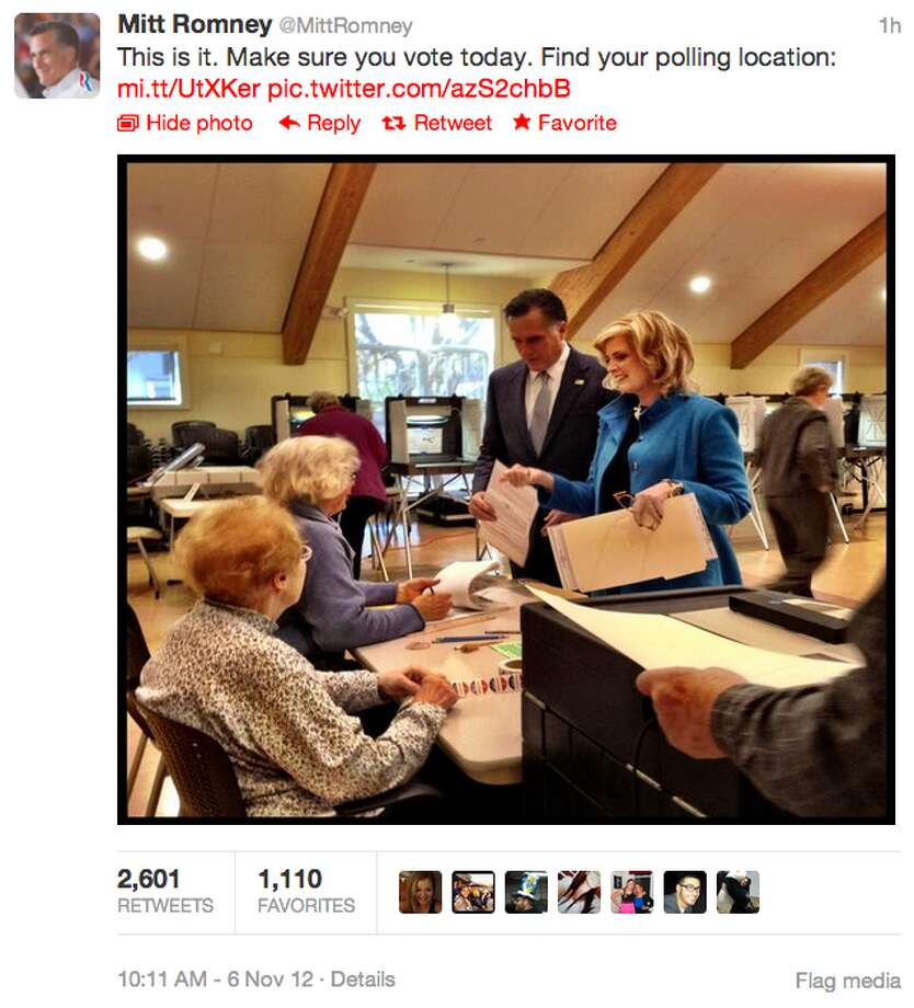 Shortly after 10 a.m. ET, Mitt Romney tweeted out a photo of himself and his wife Ann at the polls. The tweet also included a link  so that his followers could find their polling location. (Jana Kasperkevic / Houston Chronicle)