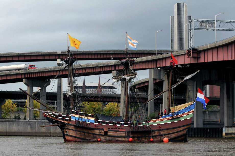The Half Moon, a full scale replica of the original Dutch ship sailed by Henry Hudson, passes under Dunn Memorial Bridge in Albany, N.Y., Friday  Oct. 14, 2011. (Will Waldron / Times Union archive) Photo: Will Waldron