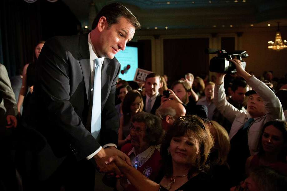 Ted Cruz makes the rounds at his election night watch party at the Hilton Post Oak hotel in Houston. Cruz will replace retiring U.S. Sen. Kay Bailey Hutchison. Photo: Smiley N. Pool, Staff / © 2012  Houston Chronicle