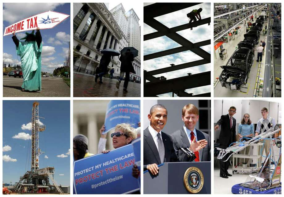 This combination of Associated Press file photos shows some of the key economic sectors that could be impacted by America's decision to re-elect President Barack Obama over Republican presidential candidate, former Massachusetts Gov. Mitt Romney on Tuesday, Nov. 6, 2012. From health care law to the overhaul of financial rules,Obama has laid out some key themes for rejuvenating the economy. Upper-income Americans may face a tax increase, auto fuel economy standards might be raised, and stocks of construction and engineering companies could benefit. (AP Photos/File)