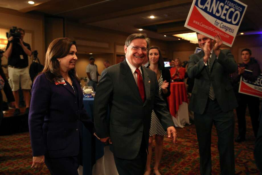 "U.S. Rep. Francisco ""Quico"" Canseco, R-San Antonio, and his wife, Gloria, arrive at a campaign rally. Canseco said it was too early to concede the race. Photo: Jerry Lara, Staff / © 2012 San Antonio Express-News"