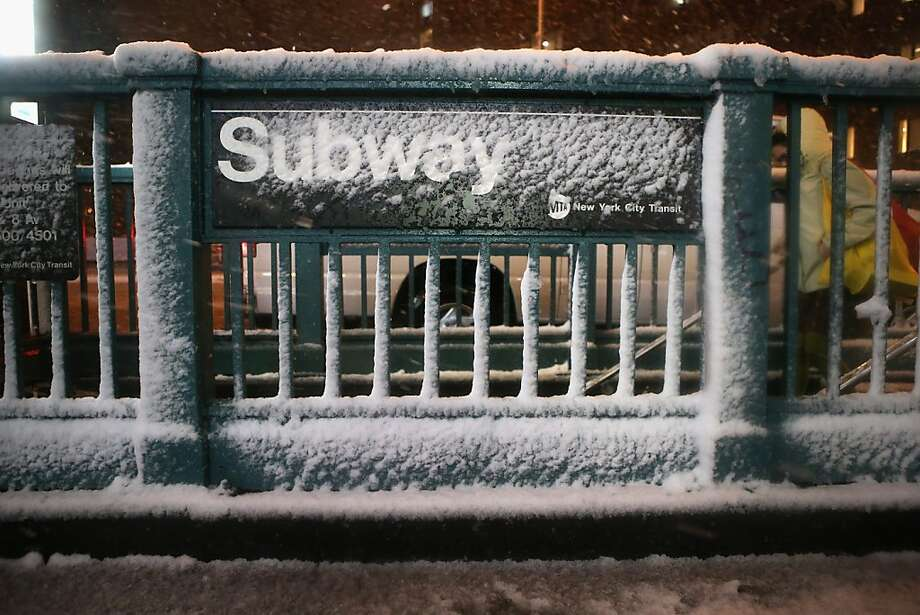 A subway stop stands snow-covered at Union Square on November 7, 2012 in New York City. The city was hit by a Nor'Easter storm, just ten days after Superstorm Sandy ravaged the tri-state area. Photo: John Moore, Getty Images