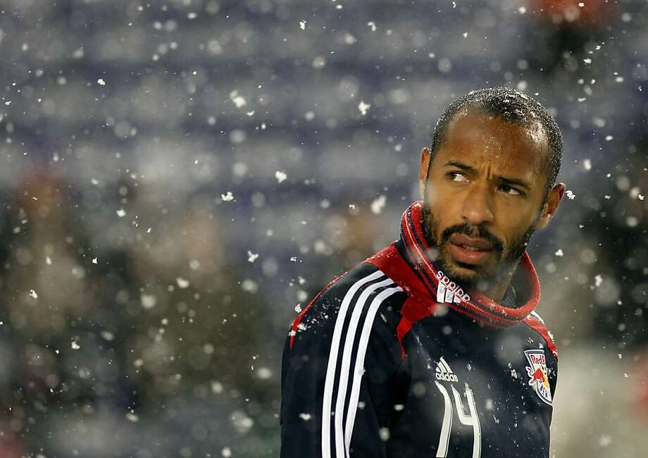 Thierry Henry of the New York Red Bulls looks on during warm-ups as the snow falls prior to the match against the D.C. United at Red Bull Arena on November 7, 2012 in Harrison, New Jersey. Photo: Mike Stobe, Getty Images