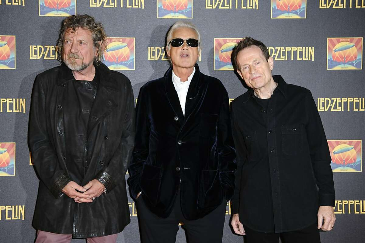 LONDON, ENGLAND - OCTOBER 12: (L-R) Robert Plant, Jimmy Page and John Paul Jones attend the UK Premiere of 'Led Zeppelin: Celebration Day'>> at Hammersmith Apollo on October 12, 2012 in London, England. (Photo by Ben Pruchnie/Getty Images)