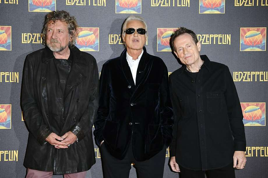 LONDON, ENGLAND - OCTOBER 12:  (L-R) Robert Plant, Jimmy Page and John Paul Jones attend the UK Premiere of 'Led Zeppelin: Celebration Day'>> at Hammersmith Apollo on October 12, 2012 in London, England.  (Photo by Ben Pruchnie/Getty Images) Photo: Ben Pruchnie, Getty Images