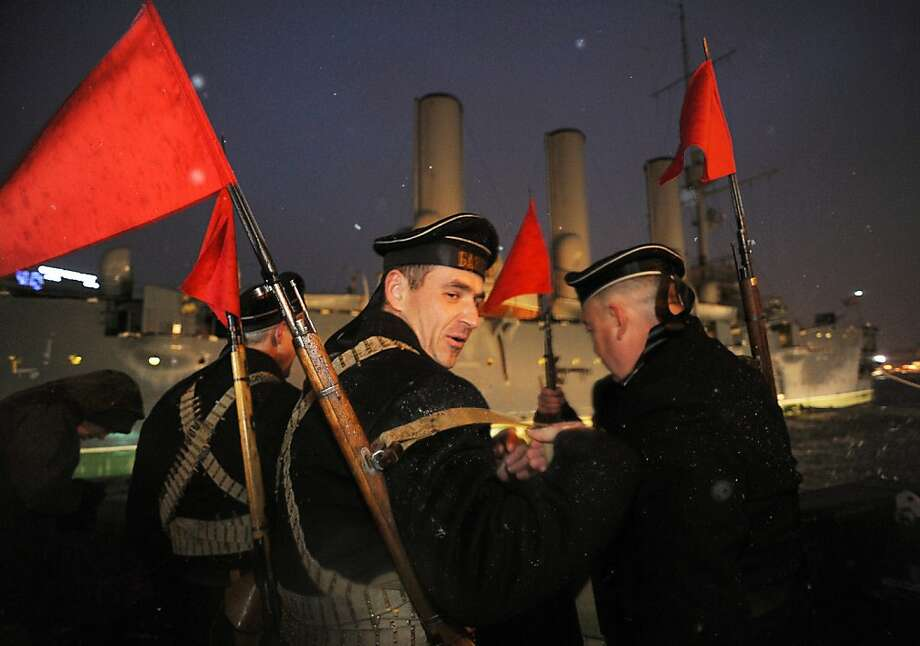 Russian Communist party supporters wearing naval uniforms of the beginning of the last century attend a rally in central St. Petersburg on November 7, 2012, marking the 95th anniversary of the October 1917 Bolshevik Revolution. Photo: Olga Maltseva, AFP/Getty Images
