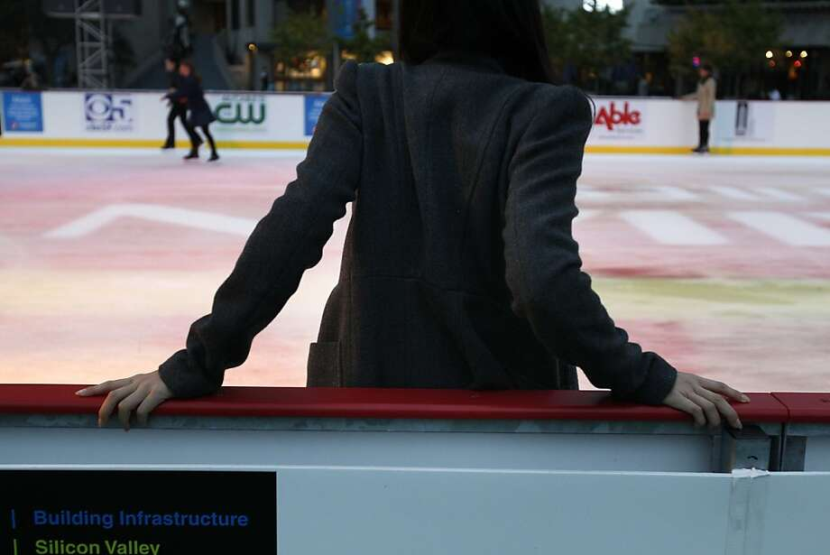 Kayana Tse holds onto the rail as others skate by at the Holiday Ice Rink which opened on Wednesday, November 7, 2012, at Justin Herman Plaza in San Francisco, Calif. Photo: Carlos Avila Gonzalez, The Chronicle