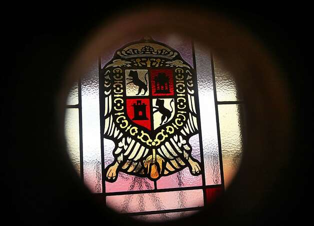 A detail of a window in the Anza room of the Presidio Officer's Club in San Francisco.  Using DNA testing, samples of redwood timber  taken from the Presidio Officer's Club have been dated to a clear cutting in the 1860's in Marin county. Photo: Liz Hafalia, The Chronicle