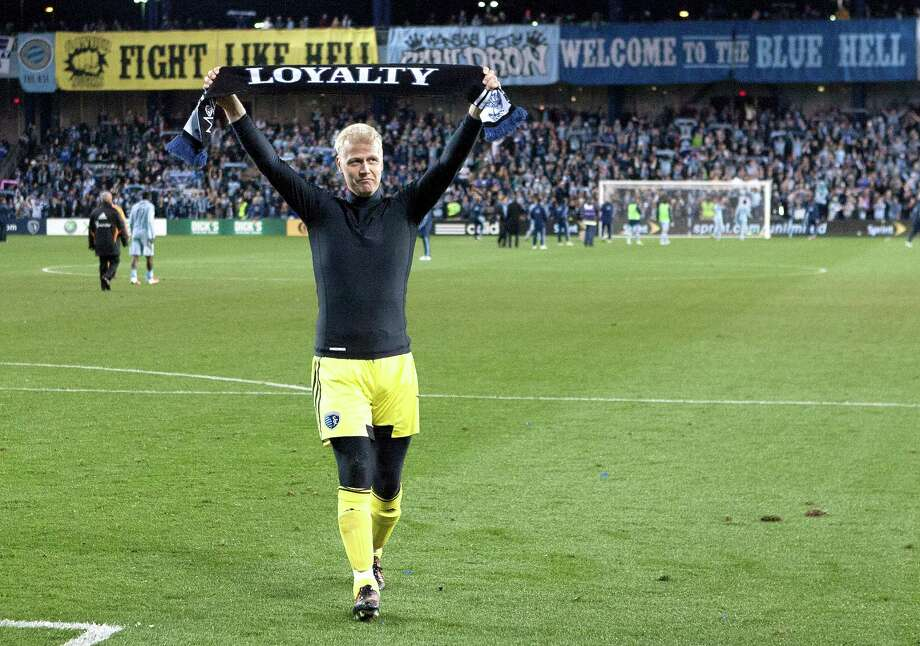 Sporting KC goalkeeper Jimmy Nielsen (1) displays a scarf with Loyalty written on it after their loss to the Houston Dynamo to end their playoff season during Wednesday's MLS playoff soccer game on November 7, 2012, at Livestrong Sporting Park in Kansas City, Ks. John Sleezer/The Kansas City Star Photo: JOHN SLEEZER, The Kansas City Star