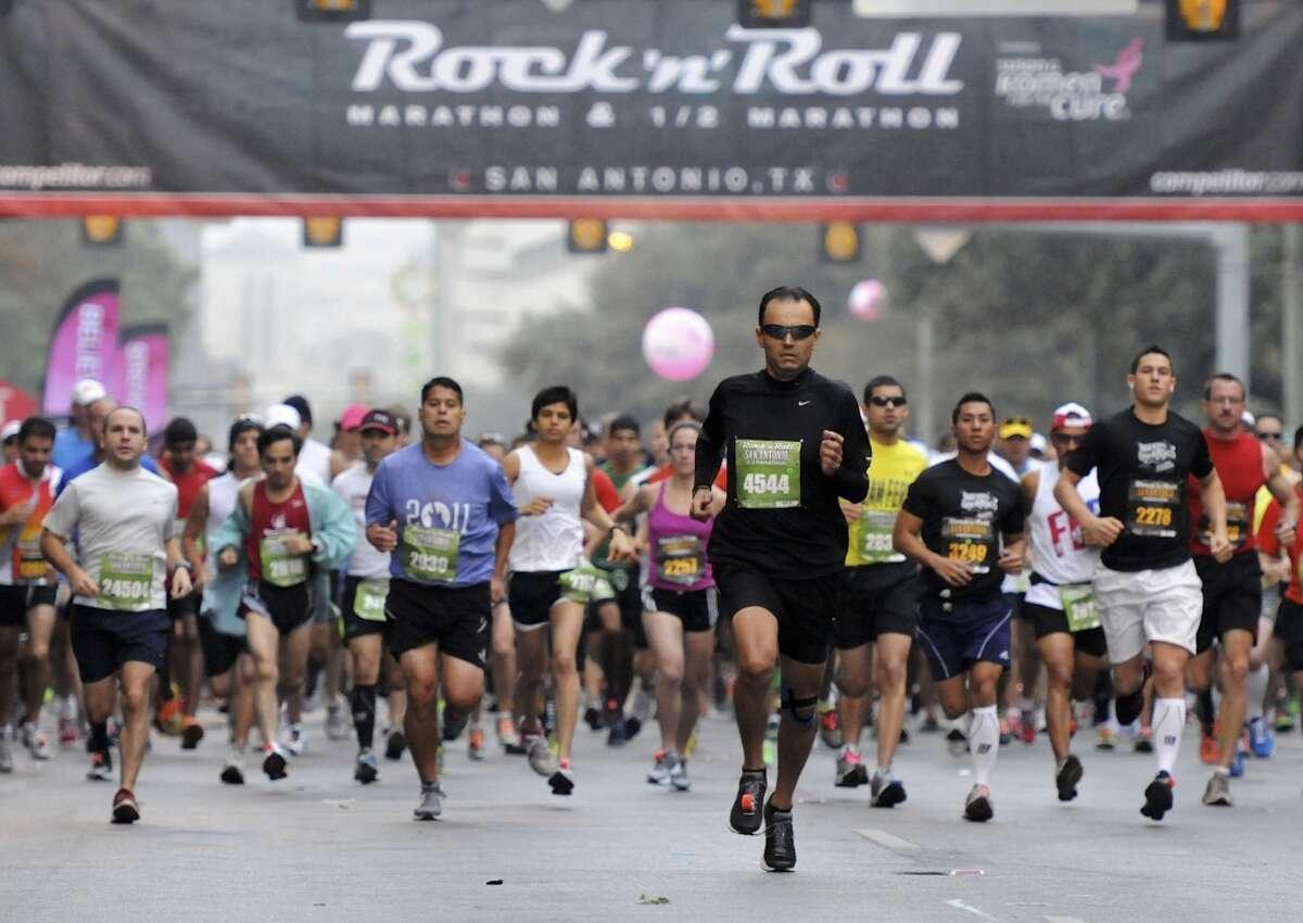 Participants at the start of the 2011 San Antonio Rock 'n' Roll Marathon and Half Marathon on Nov. 13, 2011. (San Antonio Express-News)