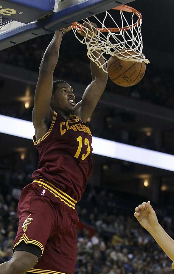 Cleveland Cavaliers forward Tristan Thompson (13) dunks against the Golden State Warriors during the second quarter of an NBA basketball game in Oakland, Calif., Wednesday, Nov. 7, 2012. (AP Photo/Jeff Chiu) Photo: Jeff Chiu, Associated Press