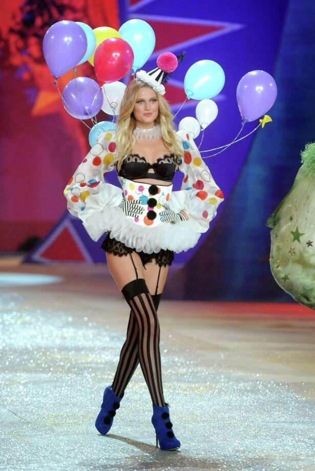 Toni Garrn is a grown woman dressed as a clown, a sexy clown, in her underwear. Photo: Jamie McCarthy, Getty Images / 2012 Getty Images