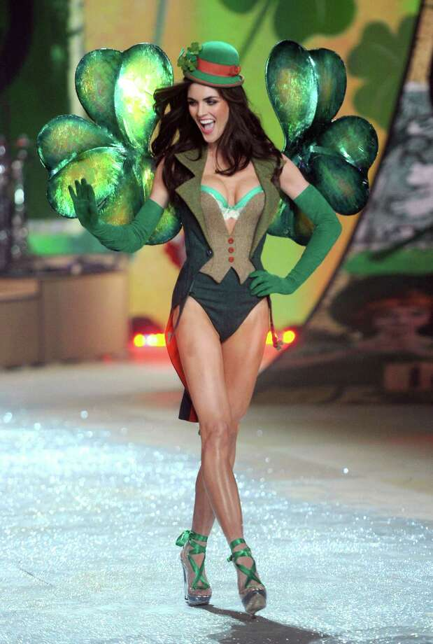 Hilary Rhoda is dressed as a Leprechaun. Leprechaun bras are very popular this year? Photo: Jamie McCarthy, Getty Images / 2012 Getty Images